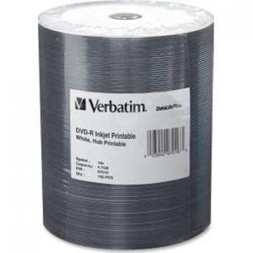 Verbatim 100-pack DVD-R 4.7GB 16X DataLifePlus White Inkjet Hub Printable Tape Wrap