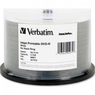Verbatim 50-pack DVD-R 4.7GB 8X DataLifePlus White Inkjet Printable 50-pack Spindle