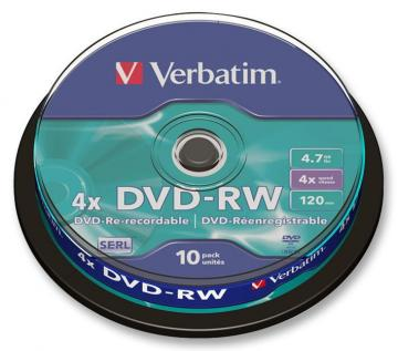 Verbatim 4x Speed DVD-RW Matt Silver Blank DVDs - 10 Pack Spindle
