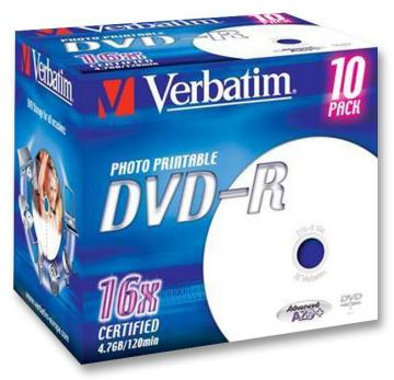 Verbatim 16x Speed DVD-R Wide Inkjet Printable Blank DVDs - 10 Pack Branded Jewel Case