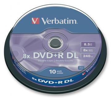 Verbatim 8x Speed DVD+R DL Matt Silver Blank DVDs - 10 Pack Spindle