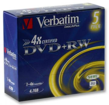 Verbatim 4x Speed DVD+RW Matt Silver Blank DVDs - 5 Pack Jewel Case