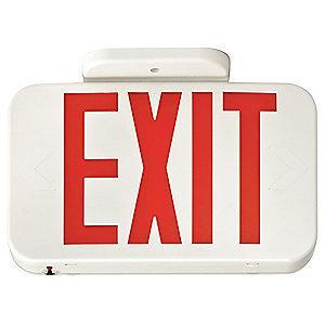 Lithonia 2 Face LED Exit Sign, White Plastic Housing, Red Letter Color