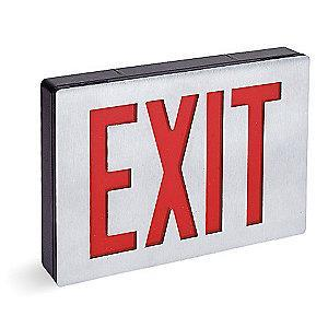 Lithonia 2 Face LED Exit Sign, Black/Silver Aluminum Housing, Red Letter Color