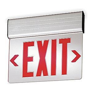 Lithonia 2 Face LED Exit Sign, Gray Aluminum Housing, Red Letter Color