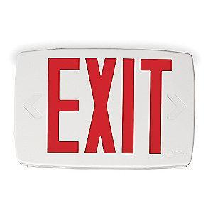 Lithonia 1 or 2 Face LED Exit Sign, White Plastic Housing, Red Letter Color