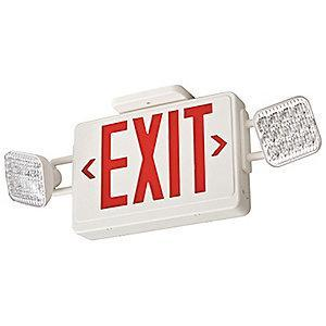 Lithonia 1 or 2 Face LED Exit Sign with Emergency Lights, White Plastic Housing, Red Letter Color
