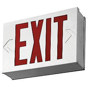 Lithonia 1 or 2 Face LED Exit Sign, White Steel Housing, Red Letter Color