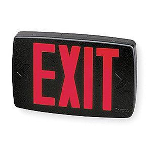 Lithonia 1 or 2 Face LED Exit Sign, Black Plastic Housing, Red Letter Color