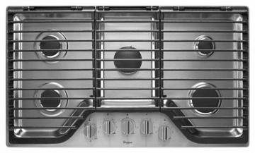 "Whirlpool 36"" Five Burner Gas Cooktop with EZ-2-Lift Hinged Cast-Iron Grates in Stainless Steel"