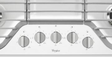"Whirlpool 30"" Gas Cooktop with Multiple SpeedHeat Burners in White"