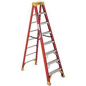 Werner 8 ft. 300 lb. Load Capacity Fiberglass Stepladder