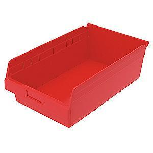 "Akro-Mils Shelf Bin, Red, 6""H x 17-7/8""L x 11-1/8""W, 1EA"