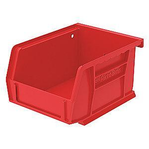 "Akro-Mils Hang and Stack Bin, Red, 5-3/8"" Length, 4-1/8"" Width, 3"" Height"