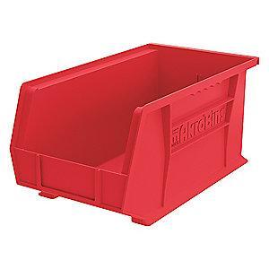 "Akro-Mils Hang and Stack Bin, Red, 14-3/4"" Length, 8-1/4"" Width, 7"" Height"