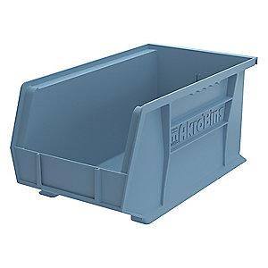 "Akro-Mils Hang and Stack Bin, Light Blue, 14-3/4"" Length, 8-1/4"" Width, 7"" Height"