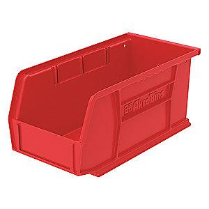 "Akro-Mils Hang and Stack Bin, Red, 10-7/8"" Length, 5-1/2"" Width, 5"" Height"