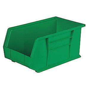 "Akro-Mils Hang and Stack Bin, Green, 14-3/4"" Length, 8-1/4"" Width, 7"" Height"