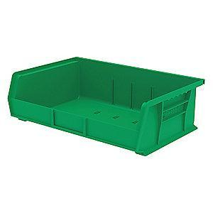 "Akro-Mils Hang and Stack Bin, Green, 10-7/8"" Length, 16-1/2"" Width, 5"" Height"