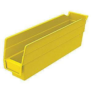 "Akro-Mils Shelf Bin, Yellow, 4""H x 11-5/8""L x 2-3/4""W, 1EA"