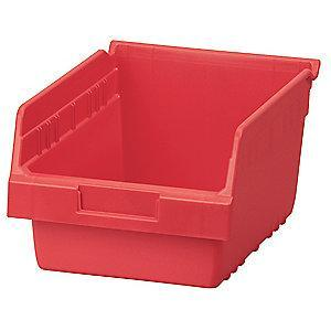 "Akro-Mils Shelf Bin, Red, 6""H x 11-5/8""L x 8-3/8""W, 1EA"