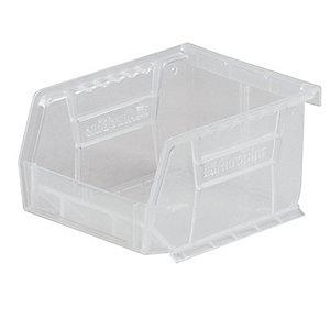 "Akro-Mils Hang and Stack Bin, Clear, 10-3/4"" Length, 8-1/4"" Width, 7"" Height"