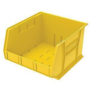 "Akro-Mils Hang and Stack Bin, Yellow, 18"" Length, 16-1/2"" Width, 11"" Height"