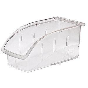 "Akro-Mils Hang and Stack Bin, Clear, 10-7/8"" Length, 5-1/2"" Width, 5-1/4"" Height"