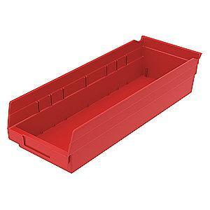"Akro-Mils Shelf Bin, Red, 4""H x 17-7/8""L x 6-5/8""W, 1EA"