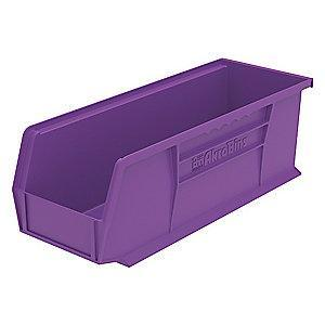 "Akro-Mils Hang and Stack Bin, Purple, 14-3/4"" Length, 5-1/2"" Width, 5"" Height"