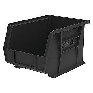 "Akro-Mils Hang and Stack Bin, Black, 10-3/4"" Length, 8-1/4"" Width, 7"" Height"