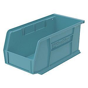 "Akro-Mils Hang and Stack Bin, Light Blue, 10-7/8"" Length, 5-1/2"" Width, 5"" Height"