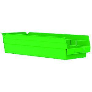 "Akro-Mils Shelf Bin, Green, 4""H x 17-7/8""L x 6-5/8""W, 1EA"