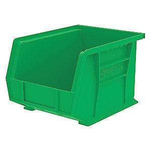 "Akro-Mils Hang and Stack Bin, Green, 10-3/4"" Length, 8-1/4"" Width, 7"" Height"