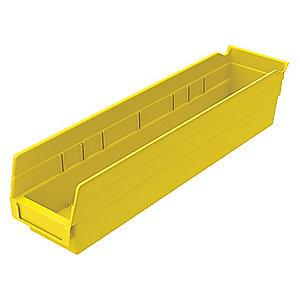 "Akro-Mils Shelf Bin, Yellow, 4""H x 17-7/8""L x 4-1/8""W, 1EA"