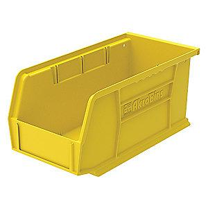 "Akro-Mils Hang and Stack Bin, Yellow, 10-7/8"" Length, 5-1/2"" Width, 5"" Height"