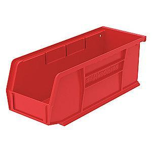 "Akro-Mils Hang and Stack Bin, Red, 7-3/8"" Length, 4-1/8"" Width, 3"" Height"