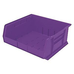 "Akro-Mils Hang and Stack Bin, Purple, 14-3/4"" Length, 16-1/2"" Width, 7"" Height"