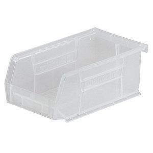 "Akro-Mils Hang and Stack Bin, Clear, 7-3/8"" Length, 4-1/8"" Width, 3"" Height"