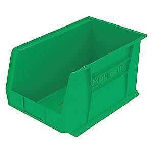 "Akro-Mils Hang and Stack Bin, Green, 18"" Length, 11"" Width, 10"" Height"