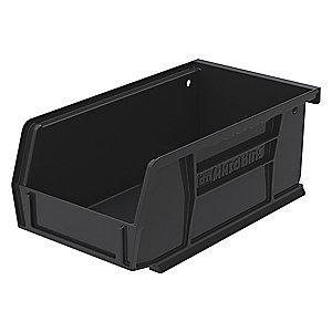 "Akro-Mils Hang and Stack Bin, Black, 7-3/8"" Length, 4-1/8"" Width, 3"" Height"