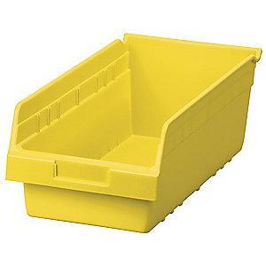 "Akro-Mils Shelf Bin, Yellow, 6""H x 17-7/8""L x 8-3/8""W, 1EA"