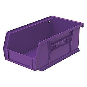 "Akro-Mils Hang and Stack Bin, Purple, 7-3/8"" Length, 4-1/8"" Width, 3"" Height"