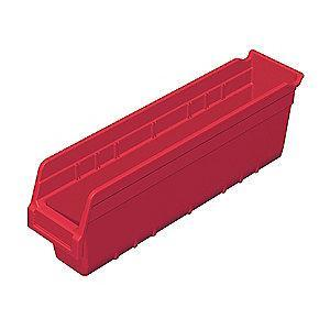 "Akro-Mils Shelf Bin, Red, 6""H x 17-7/8""L x 4-1/8""W, 1EA"
