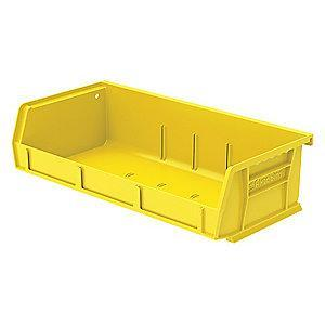 "Akro-Mils Hang and Stack Bin, Yellow, 5-7/16"" Length, 11"" Width, 3"" Height"
