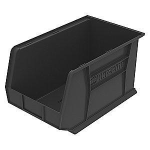 "Akro-Mils Hang and Stack Bin, Black, 18"" Length, 11"" Width, 10"" Height"