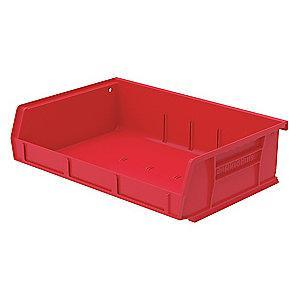 "Akro-Mils Hang and Stack Bin, Red, 5-7/16"" Length, 11"" Width, 3"" Height"