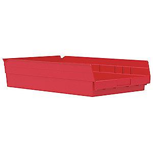 "Akro-Mils Shelf Bin, Red, 4""H x 17-7/8""L x 11-1/8""W, 1EA"