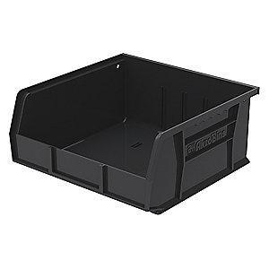 "Akro-Mils Hang and Stack Bin, Black, 10-7/8"" Length, 11"" Width, 5"" Height"