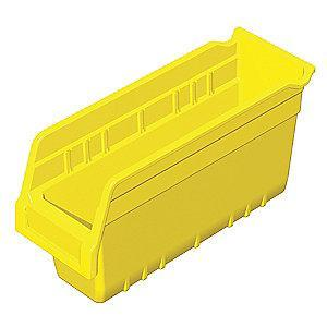 "Akro-Mils Shelf Bin, Yellow, 6""H x 11-5/8""L x 4-1/8""W, 1EA"
